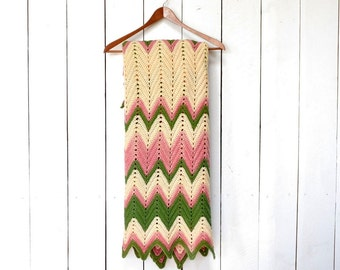 Crochet Chevron Blanket 1970s Small Vintage Retro Striped Throw Blanket Green Pink Cream