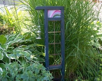 Garden Decor Accent Piece Of Steel, Cedar and Stained Glass, Small Garden Art