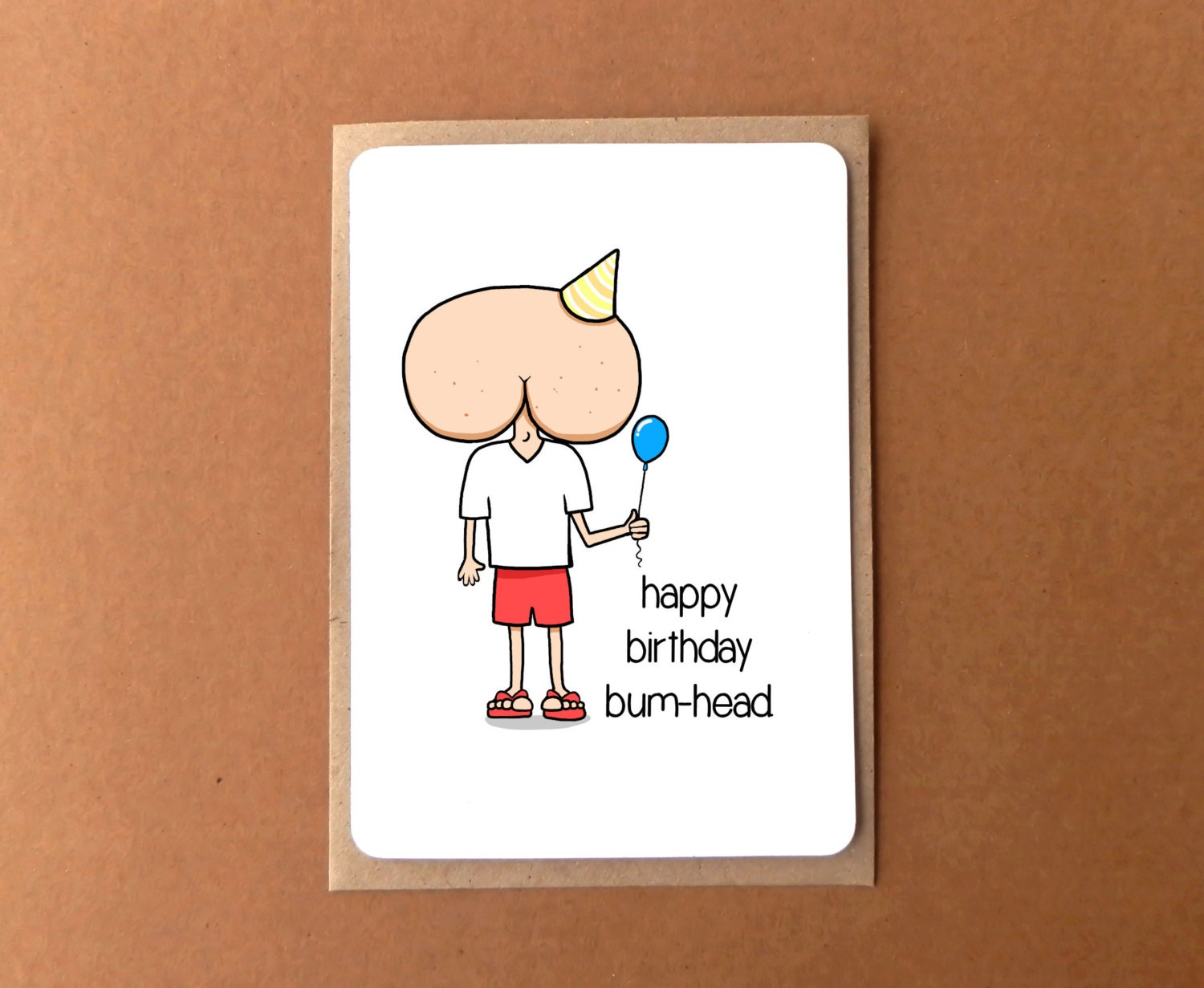 Greeting Card Happy Birthday Bum Head Potty Humour Card Funny