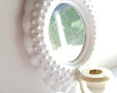 White Hobnail Mirrored Wall Scone: White Plastic, Candle Holder, Nursery, Bedroom, Fairy Tale, Shabby Chic