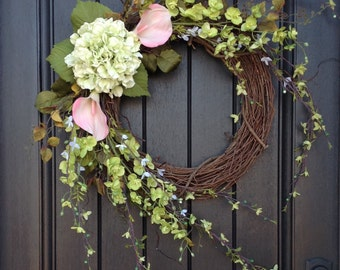 Spring Wreath Summer Wreath Floral White Green Branches Door Wreath Grapevine Wreath Decor-Pink Lilies Wispy Easter-Mothers Day