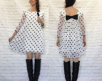 Vintage 60s Mod Polka Dot Silk Sheer Tent Mini Dress Bow Back Shift Black White
