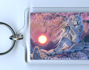 Wolf Wolves Wind and Water Keychain