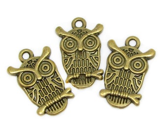 Bronze Charms : 10 Antique Bronze Owl Charms | Brass Owl Pendants | Bird Charms -- Lead, Nickel & Cadmium free Jewelry Findings A7