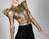 Holographic Gold Zipper Jacket, Dance Costume, Stage Wear, Futuristic Fashion, Music Video, Hip Hop, Burning Man, Athleisure, by LENA QUIST