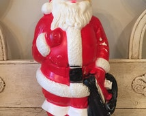 Vintage Blowmold Santa Claus - 1960s Christmas Decor - Plastic, Light Up Santa