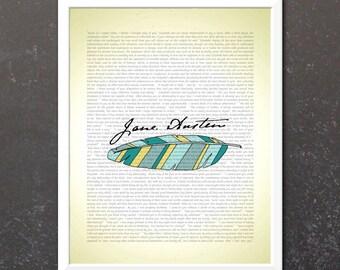 Jane Austen Signature Print - Pride and Prejudice - Regency Book Art and Feather Illustration - Jane Austen Home Decor - Free Shipping