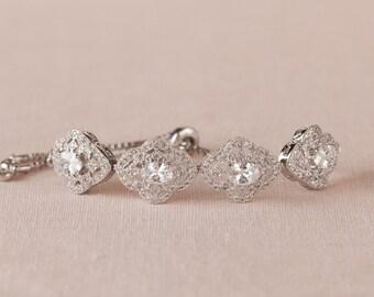 Crystal Bridal Bracelet, Rose Gold Jewelry SET, Gold, Dainty Wedding Bracelet, Wedding Jewelry, Lola Slide Bracelet
