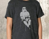 Kid's T-Shirt - Storm Trooper Playing Videogames - American Apparel Tri-Blend T-Shirt - 2YR Through 10YR Sizes Available