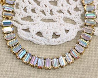 NEW Crystal AB Swarovski Rhinestone Baguette Bracelet,Rhinestone Crystal Tennis Bracelet,Aurora Borealis,Pastel Rainbow,Northern Lights,Gift