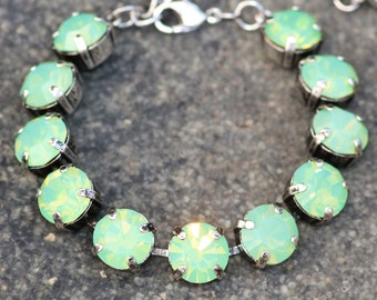 ONLY ONE Vintage Swarovski Green Opal Rhinestone Tennis Bracelet,Apple Green Opal Crystal Bracelet,Large Tennis Bracelet,Antique Silver