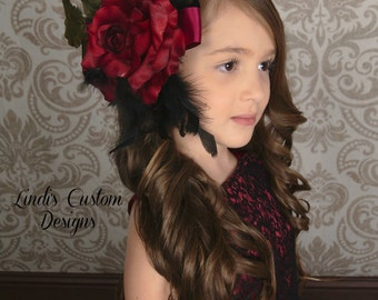 Burgundy Rose Hair Accessory with Black Feather Accent, Over the Top Boutique Hair Clip, Wedding Bridal Flower Girl Burgundy Black Hair Clip
