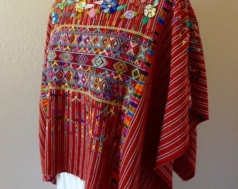 Collectors Guatemalan huipil poncho Colotenango deep RED handwoven patterns embroidered floral neck boho Frida Kahlo