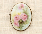 Pink Flower Brooch Vintage Gold Oval Roses Pastel Watercolor Broach Costume Jewelry | Vtg Pin 16C