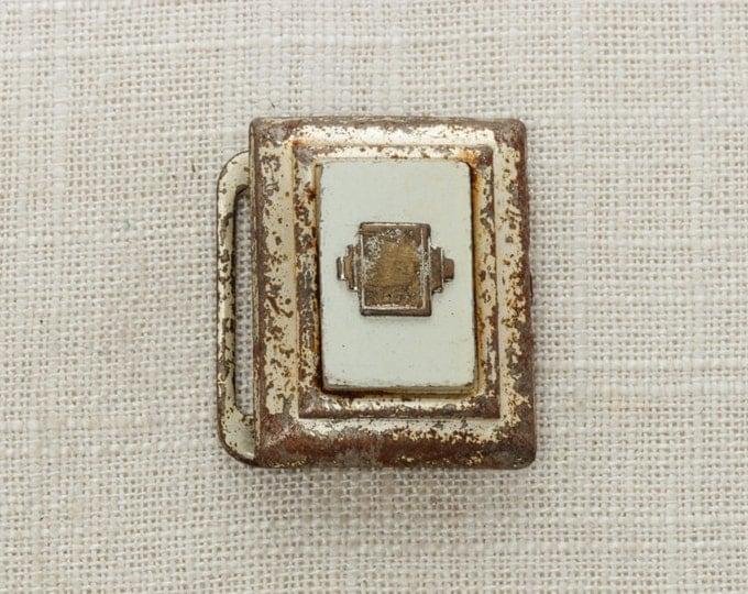 Art Deco Vintage Belt Buckle Letter Silver Tone Metal Unisex Buckle Mens Womens Small  BB13
