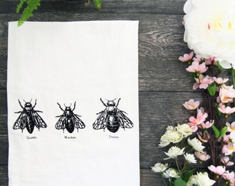 Bee Trio Screen Printed Kitchen Flour Sack Tea Towel