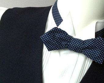 Bow Tie - diamond point / blue pindot bowtie / self tie, freestyle - self tie men's - adjustable bowties - just for men