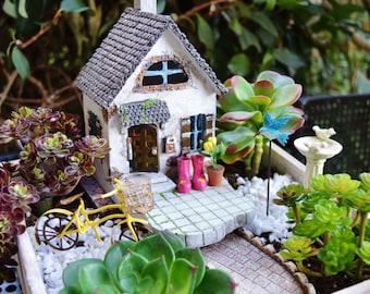 Beach Cottage Garden Kit  ~ Miniature House ~ Wooden Planter ~ Herb Garden Kit ~ Birdbath ~ Bike ~ Rain boots ~ Plants + Soil Not Included