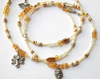 Oshun Waistbeads,  Honey Bee-Handmirror- Fan- Goddess Waist Beads, African Belly Chain, Belly Beads