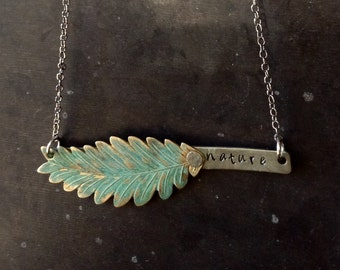 nature - Hand Stamped Brass Leaf Mixed Metal Necklace