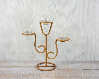 Tealight candleholder, rustic candle holder, small candelabra