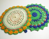 Vintage Hand Crocheted Hot Pad Trivets, Pick your Favorite, cottage charm table decor textile
