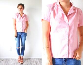 Vintage pink blouse top // boho short sleeve pink blouse // pink shirt // boho peach top // spring top summer shirt // retro blouse