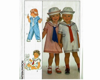 Toddlers Overalls Dress & Hat Nautical Sailor fashion sizes 1/2 1  2  3 Twin outfits unisex Uncut 1980s Sewing Pattern Simplicity 9074
