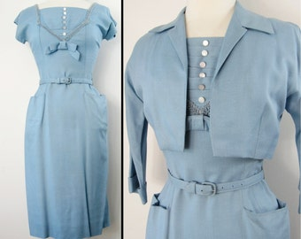 Vintage 1950s Dress | 50s Dress | Blue Dress | Wiggle Dress | 1950s Vintage Dress | 50s Blue Dress | Rockabilly Dress |