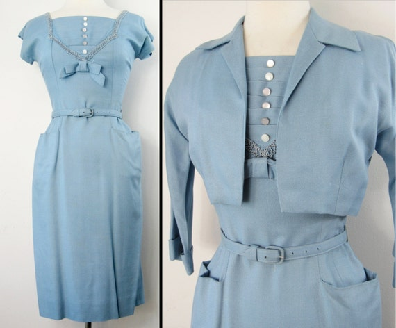 Vintage 1950s Dress | 50s Dress | Blue Dress | Wiggle Dress | 1950s Vintage Dress | 50s Blue Dress | Rockabilly Dress |