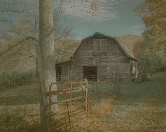 Barn photography, landscape photo, fine art photo, gray blue orange country landscape, soft tone rustic wall decor LR  man-cave office cabin