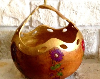 Gold Handled scalloped edge gourd basket with flowers