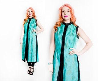 Vintage 1950s Dress - Metallic Cotton Asian Oriental Chinese Slit Dress 50s - Large
