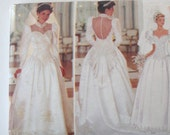 1990s Wedding Dress Pattern Butterick 3839 Womens Backless Sweetheart Neckline Basque Waist Gown Train Sewing Pattern Misses 8-10-12 UNCUT