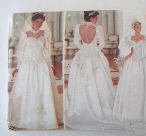 1990s wedding dress pattern butterick 3839 womens backless for Butterick wedding dress patterns