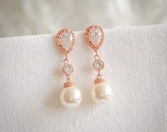 Rose Gold Bridal Earrings, Swarovski Pearl Drop Wedding Earrings, Crystal Zirconia Dangle Stud Earrings, Bridal Wedding Jewelry, CHERYL