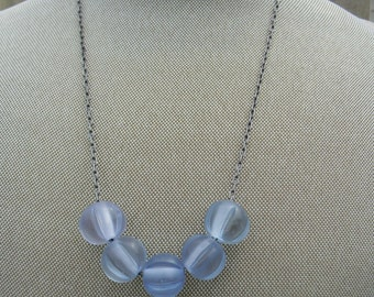Beaded necklace simple beaded jewelry summer jewelry icy blue necklace