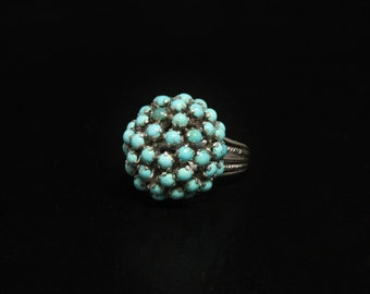 """Turquoise Cluster Dome Ring Sterling Silver Prong Setting Size 8.5 4/5"""" Wide"""