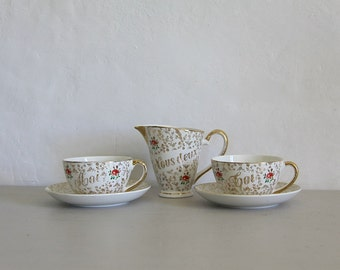 Elegant Vintage French Moi Toi Marriage Couples Set, Cups Saucers, Jug