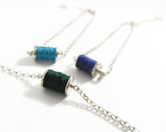 Miniature hand crafted sterling silver mini spool necklace with hand wound vintage cotton thread