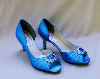 Turquoise Wedding Shoes low heel -- 2.5 inch heel shoes