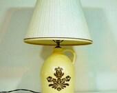 Vintage Pfaltzgraff Village Table Lamp with Shade Large Crock Jug American Folk Art Retired Discontinued 1970's Village Pattern