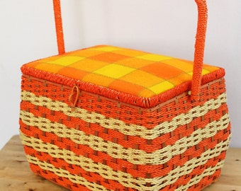 Vintage 1970's Orange + Yellow Straw Plaid + Stripe Sewing Basket