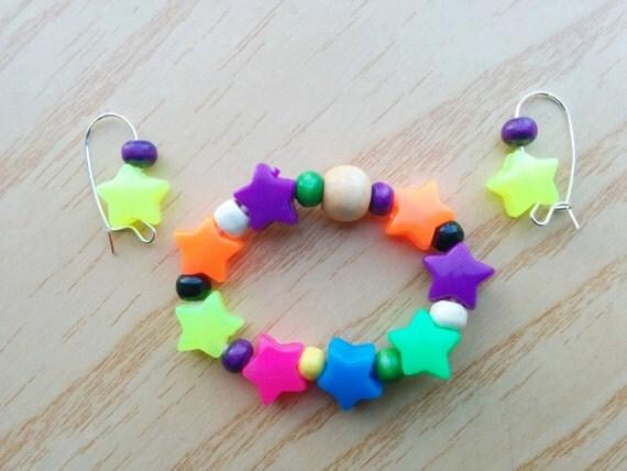 Girls bracelet,jewelry set,stars bracelet,girls earrings,children bracelet,stars bangle,girls jewelry set,girl bracelet,girl earrings
