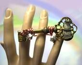 Unique Handmade Skeleton Key Steampunk Ring, made from old key, skeleton key ring, steampunk jewelry, steampunk statement ring, gold, copper