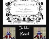 "RESERVED Installment Listing for ""DEBBIE REED"" 1st Installment/Deposit for ""Uncle Sam Stand Centerpiece"" 2017 Delivery"