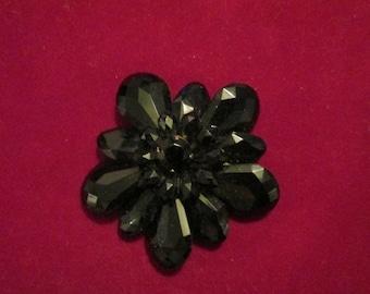 Vintage Large Flower Jet Like Brooch / Faceted Black Brooch / Beautiful
