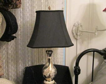 Mid Century Lamp / 50s Black Gold White Lamp With Shade / Tall Beautiful Table Lamp