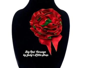 Holiday Ribbon Corsage Pin, Big red bow, Red & Green Hair Accessory, Ribbon Hair Bow, Handmade Accessory Bow, Christmas Ribbon Bow Corsage