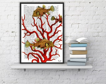 Coral Summer Sale Vintage Book Print Dictionary or Encyclopedia Print Coral and yellow fishes Print on Vintage Dictionary Bookart SEA041